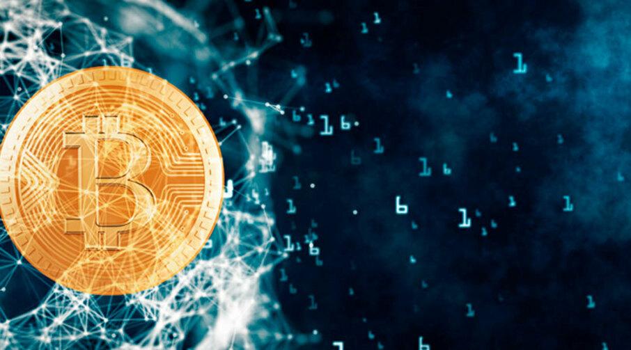 Kryptovaluta representert som Bitcoin.
